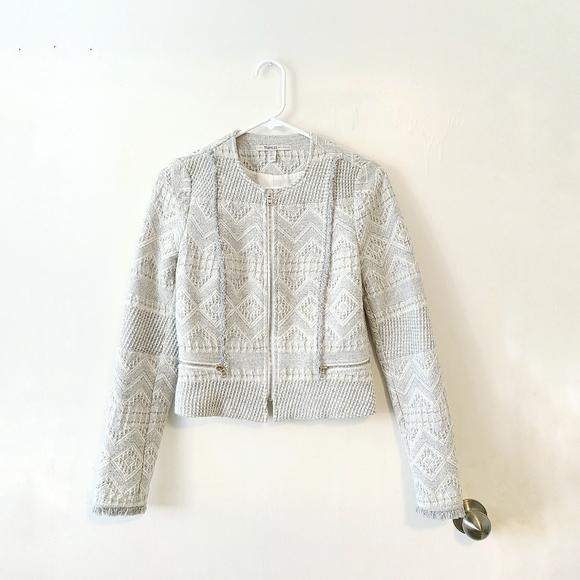 ZARA Cream Embroidered Fringe Knitted Blazer S